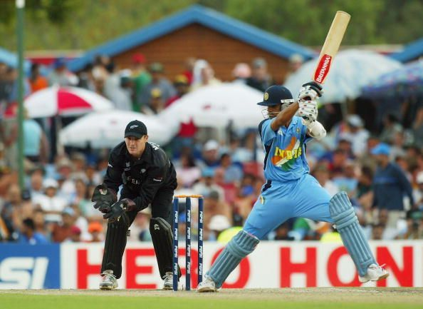 Rahul Dravid of India in action