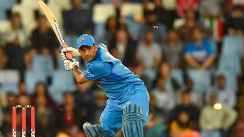 MS Dhoni during his 52* against South Africa