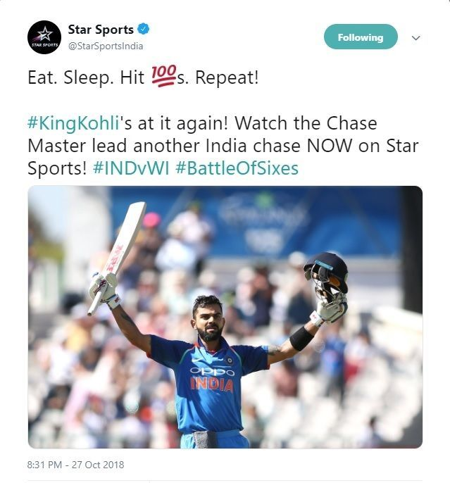 Star Sports applauds VK