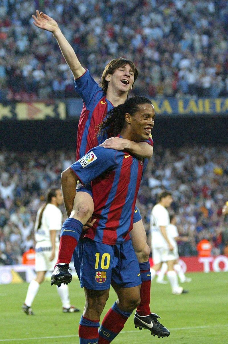 Messi celebrates his first ever senior career goal