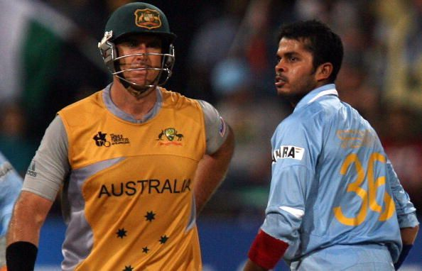 Sreesanth castled Matthew Hayden in a fiery passage of play during the semi-final