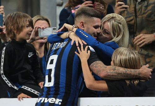 Icardi celebrating his last-gasp winner with his family, is Inter's chief goal threat