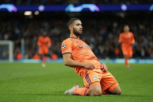 Nabil Fekir celebrates his Champions League goal against Man City