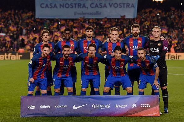 Arda Turan (front row, second from left) is a Barcelona player who is currently on loan