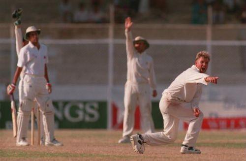 Warne during the Karachi Test in 1994
