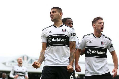 Aleksandr Mitrovic celebrates his goal for Fulham
