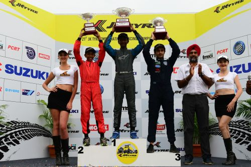 Round 3 winners of JK Tyre Novice Cup of the 21st JK Tyre FMSCI National Racing Championship