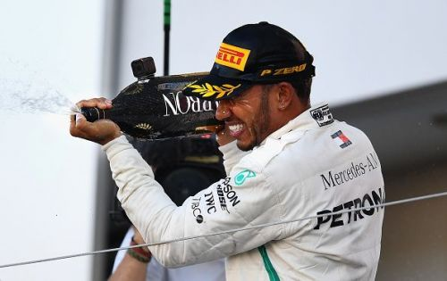 Hamilton celebrates his 2018 Japan GP victory