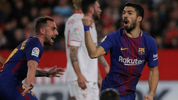 Suarez scored in the 88th minute at Ramon Sanchez Pizjuan: 2017-18
