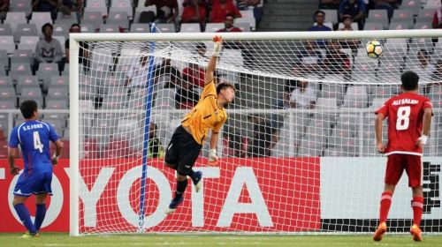 Taipei goalkeeper Li Guan-Pei was peppered with 18 shots of which he managed nine saves (Image courtesy: AFC)
