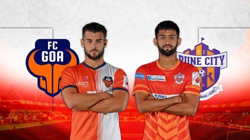 Hugo Boumous of FC Goa and FC Pune City's Nikhil Poojary