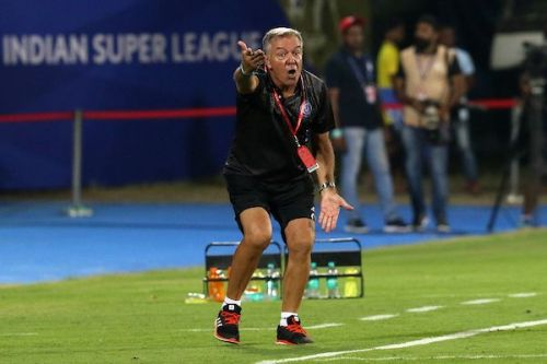 Cesar Ferrando in action at the touchline during the game [Credits: ISL]