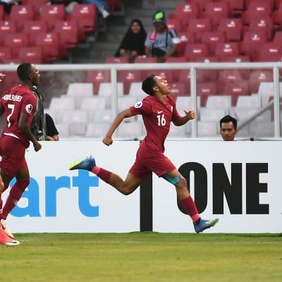 Hashim Ali number 16 from Qatar scored the opening goal (Image Courtesy: AFC)