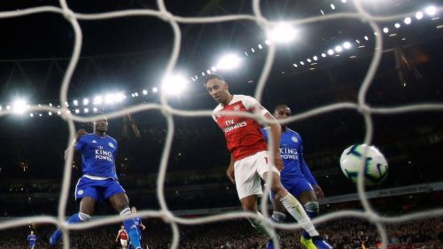 Arsenal's Pierre-Emerick Aubameyang scores their third goal against Leicester