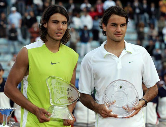 Nadal and Federer receiving honours after 2006 BNL d