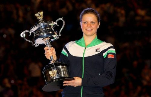 Kim Clijsters with her solitary Australian Open trophy