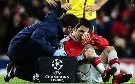 Despite having a broken leg, Fabregas ended up scoring a penalty