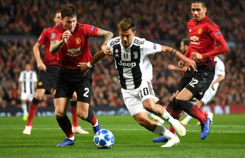 Manchester United's Lindelof tracking Juventus' Dybala in their 1-0 loss at the Old Trafford.