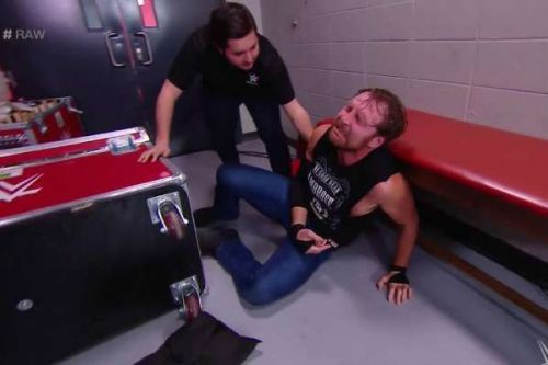 Ambrose was attacked by Samoa Joe and The Bar