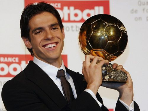 Kaka gives a smile after winning the Ballon d'Or trophy in 2007. (Image: AP)