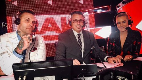 Renee Young with Corey Graves and Michael Cole