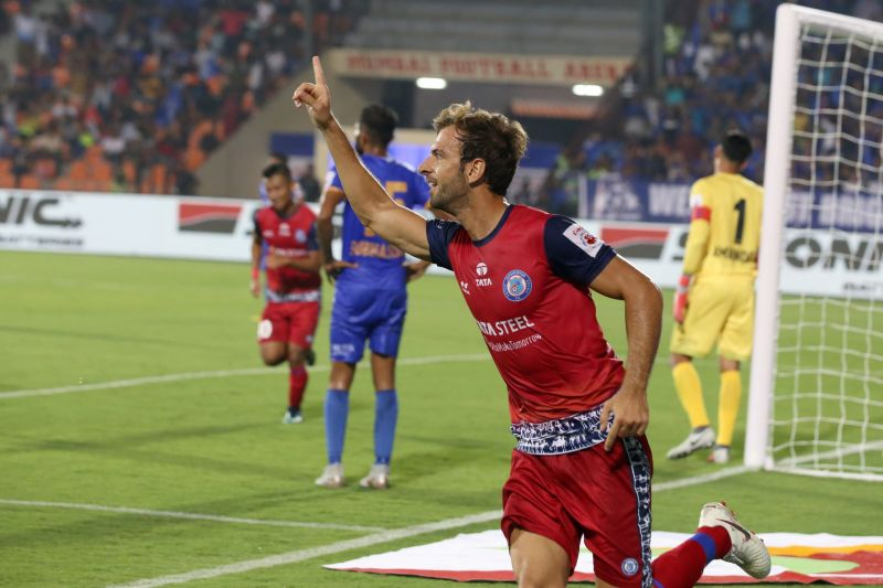 Mario Arques celebrates after giving Jamshedpur the lead (Credit: ISL)