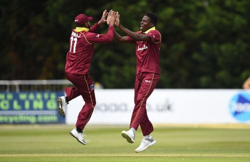 West Indian Cricket team players celebrating