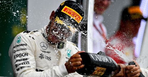 Lewis Hamilton enjoying another of his stellar drives for an F1 win