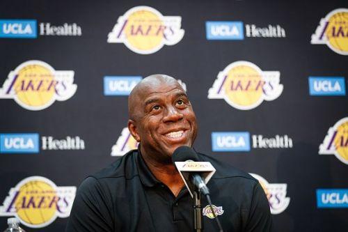 Earvin 'Magic' Johnson & Rob Pelinka Los Angeles Lakers Media Availability