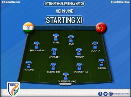 India started in their typical 4-4-2 formation (Image Courtesy: AIFF Twitter)