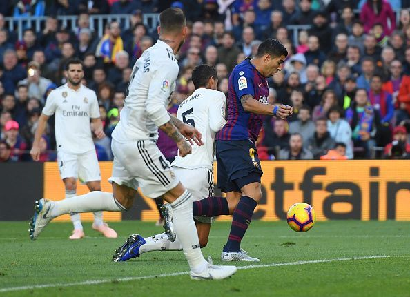 Varane misjudged a tackle on Suarez in the box, resulting in a spot-kick after VAR review