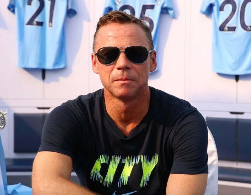Paul Dickov looking sharp at Manchester City's Centurions Trophy Tour in Mumbai