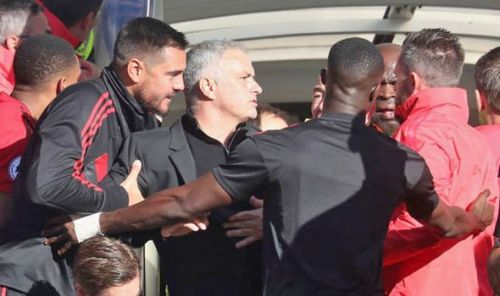 Mourinho was involved in a touchline bust-up with members of Chelsea's coaching staff