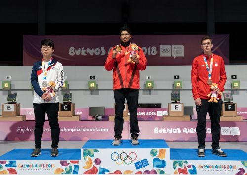 From left to right: Silver medalist - Yunho Sung of Korea, Gold medalist - Saurabh Chaudhary of India, Bronze medalist - Jason Solari of Switzerland (Image Courtesy: IOC)