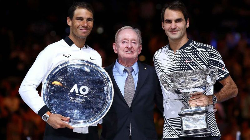 Nadal and Federer receiving honours after 2017 Australian Open Final