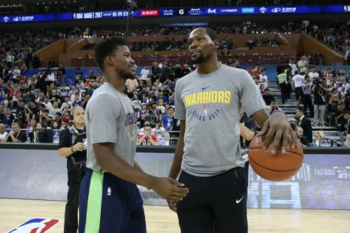 Jimmy Butler and Kevin Durant at the 2017 NBA Global Games in China