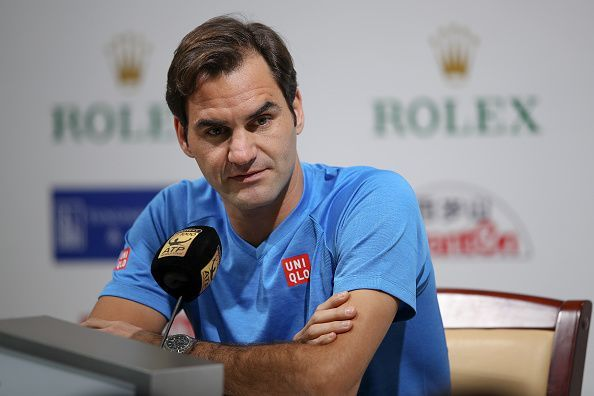 Roger Federer speaks to the media ahead of the Shanghai Masters 2018