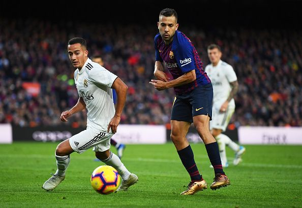 Alba battling for possession with Real's Lucas Vazquez during a memorable display
