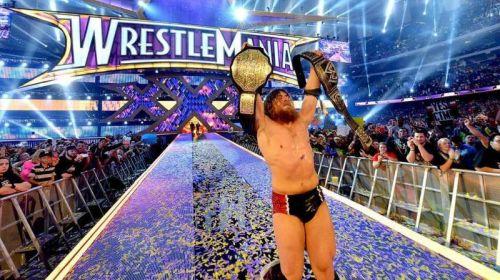 Daniel Bryan celebrates after winning the WWE World Heavyweight Championship at WrestleMania 30.