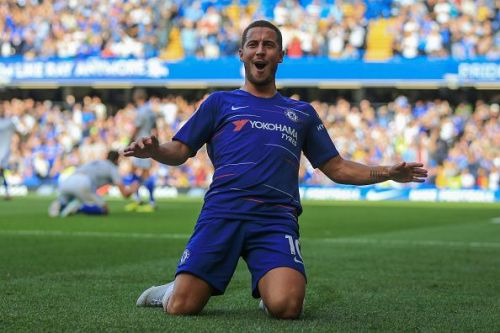 Eden Hazard celebrating his goal against Newcastle United.