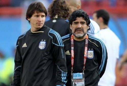 Messi and Maradona during the 2010 World Cup