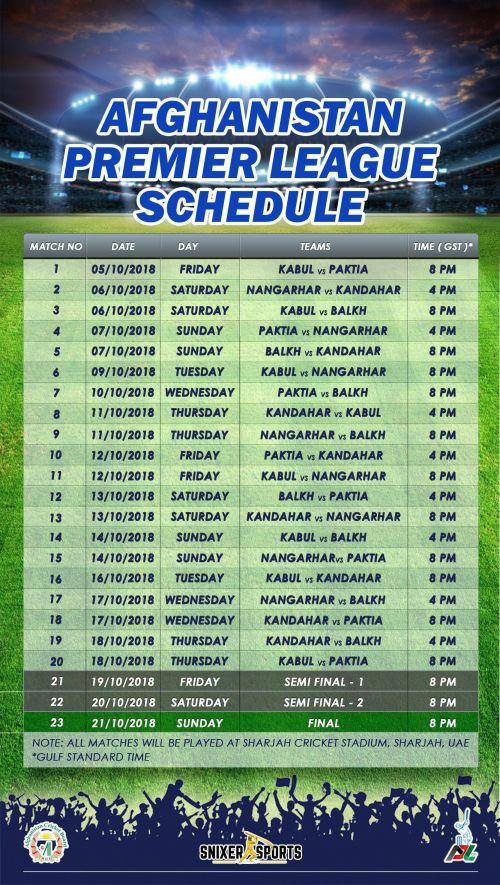 * APL Schedule
