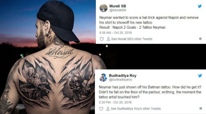 22e481f42 Twitter reacts as Neymar shows off new Batman and Spiderman tattoos