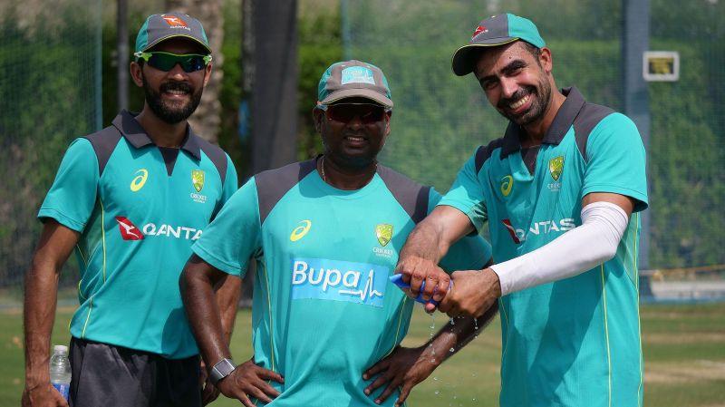 Sriram (c) with Sahu (r) and Jiyas (l) in UAE - Photo credit: Cricket Australia