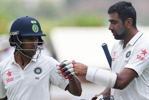 Ashwin and Saha involved in a double century partnership