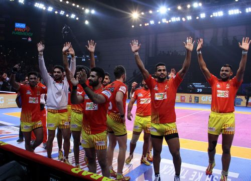 Gujarat Fortune Giants celebrate their thrilling win over U Mumba