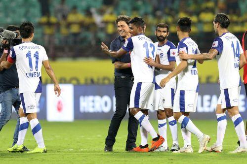 Cuadrat and the BFC players celebrate Bengaluru's 2-1 win in Kochi