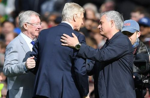 Manchester United's past and present - Alex Ferguson (L) and Jose Mourinho (R)