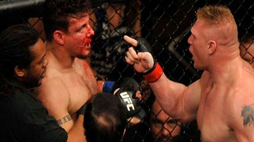 Brock Lesnar berates Frank Mir following the conclusion of their main event clash