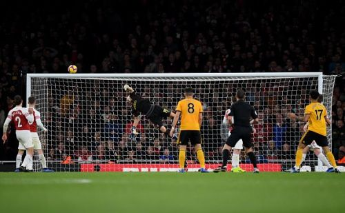 Bernd Leno makes a flying save against